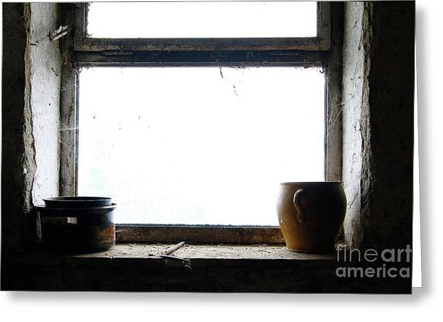 Old Pots And Stoneware Jar On Window Greeting Card by Michal Boubin