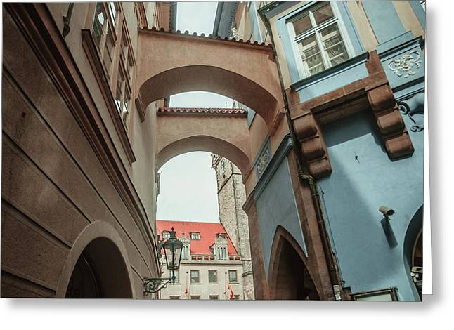 Greeting Card featuring the photograph Old Prague Architecture 1 by Jenny Rainbow