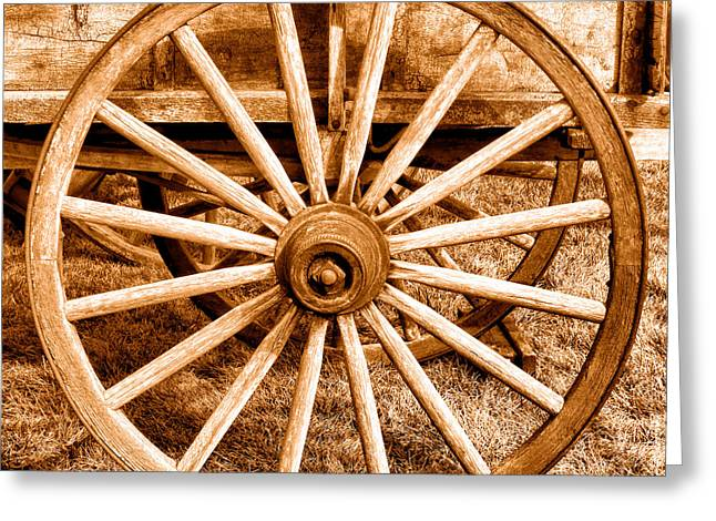 Old Prairie Schooner Wheel - Sepia Greeting Card by Olivier Le Queinec