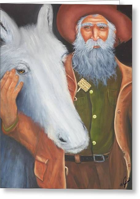 Old Prospector And Friend Greeting Card
