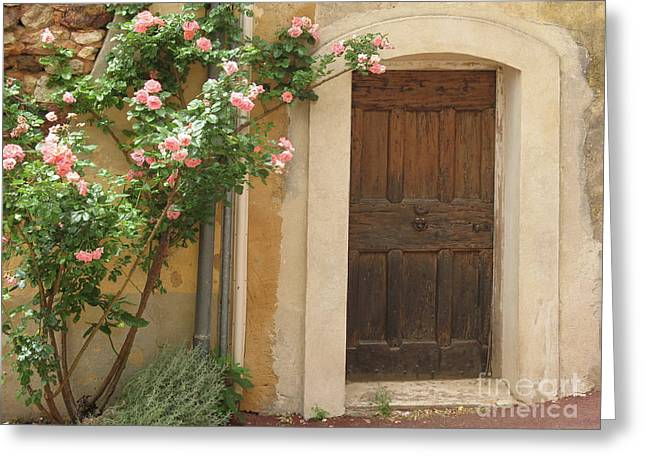 Old Provence Door And Rose Tree Greeting Card by Christiane Schulze Art And Photography