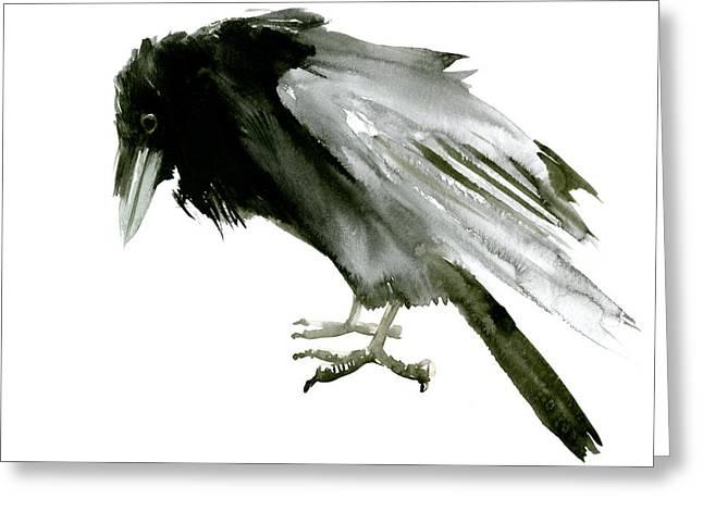 Old Raven Greeting Card by Suren Nersisyan