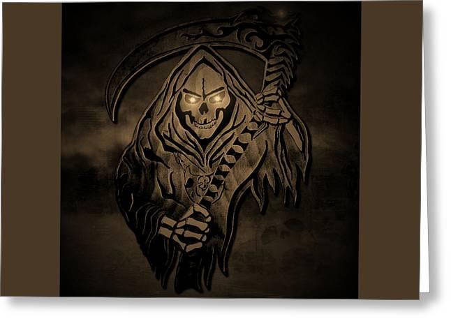 Old Reaper Greeting Card by Michael Bergman