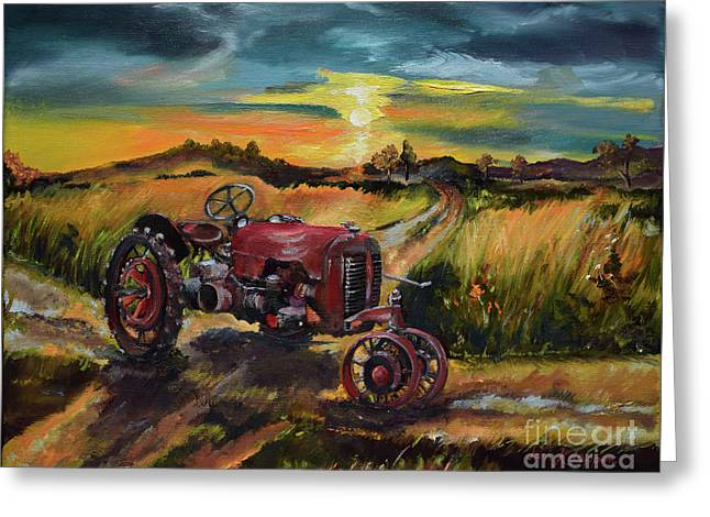 Greeting Card featuring the painting Old Red At Sunset - Tractor by Jan Dappen
