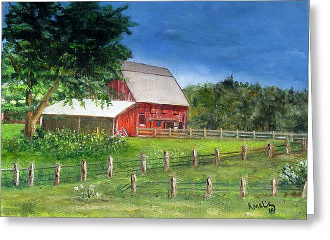 Old Red Barn Greeting Card by Amelie Gates