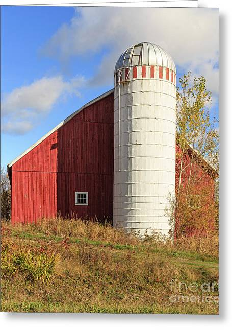 Old Red Barn And White Silo Stowe Vermont Greeting Card