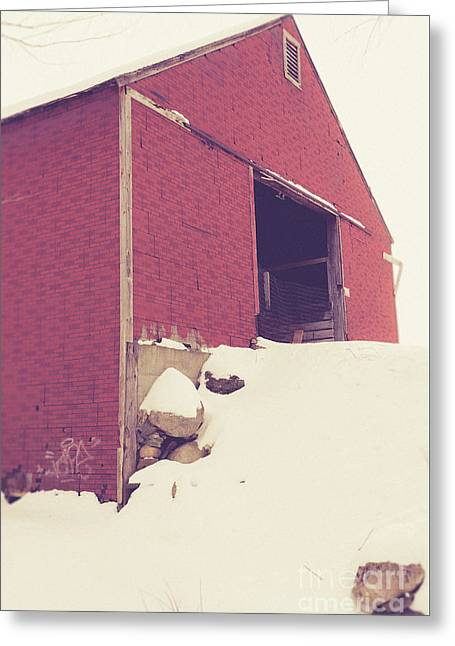 Old Red Barn In Winter Greeting Card by Edward Fielding
