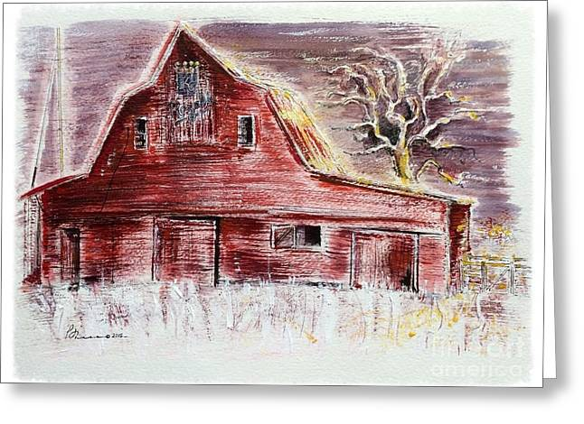 Old Red Barn Stands Loyal To The Royals Greeting Card