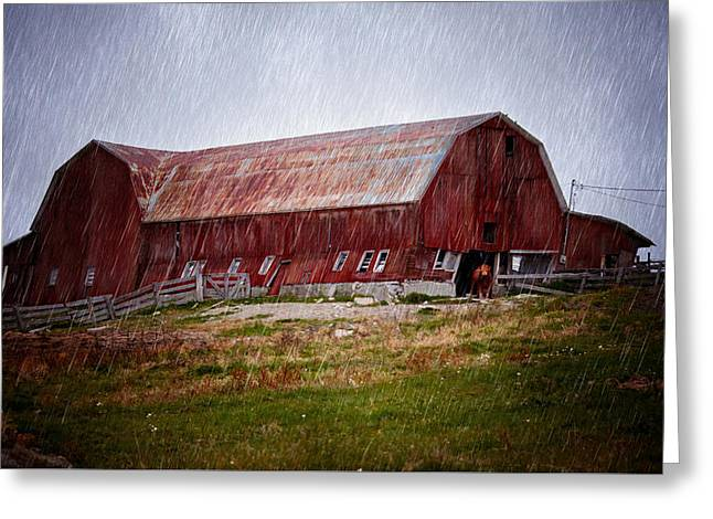 Old Red Barn Greeting Card by Maggie Terlecki