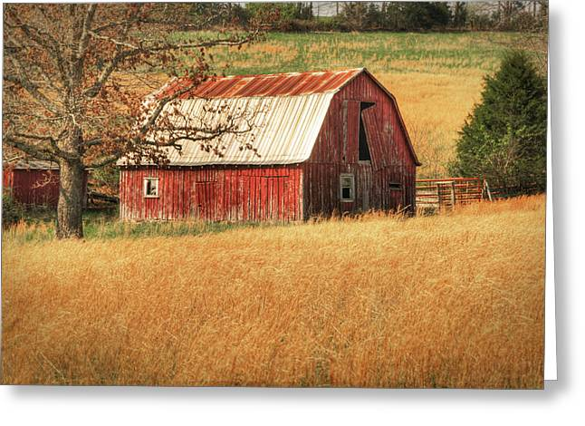 Old Red Barn Greeting Card by Tamyra Ayles
