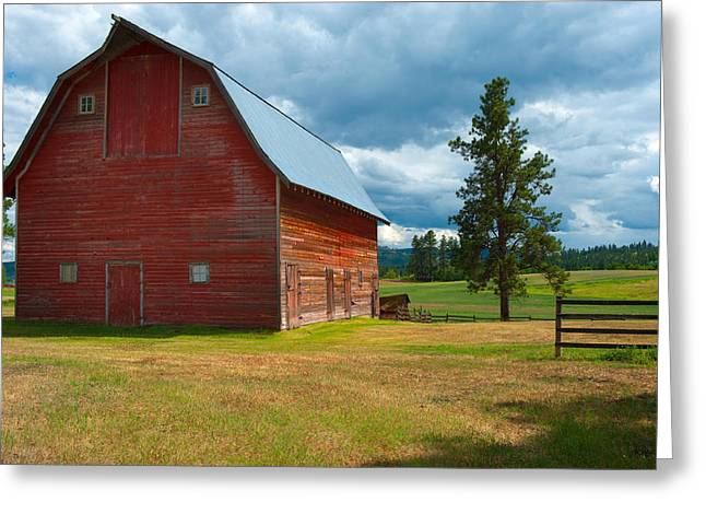 Old Barns Greeting Cards - Old Red Big Sky Barn  Greeting Card by Sandra Bronstein