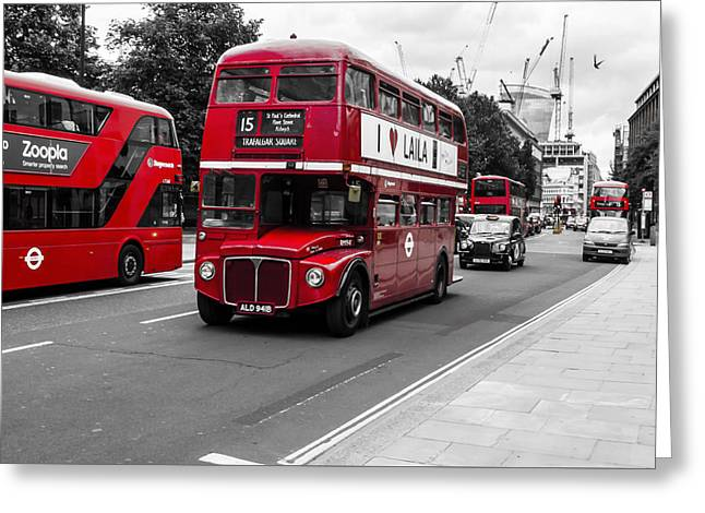 Old Red Bus Bw Greeting Card