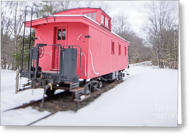 Old Red Caboose In Winter Tilt Shift Greeting Card