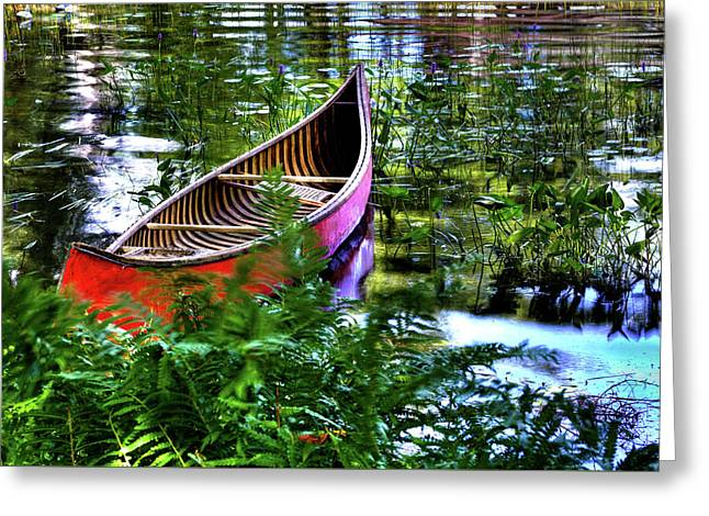Old Red Canoe Greeting Card