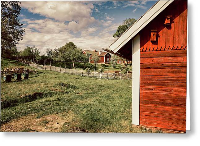 Old Red Farm Set In A Rural Nature Landscape Greeting Card by Christian Lagereek