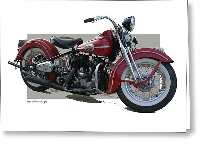 Old Red Harley Davidson Greeting Card