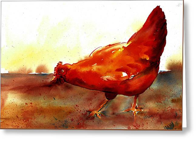 Picking With The Chickens Greeting Card