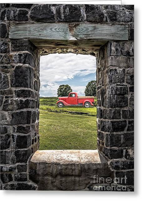Old Red Pickup Truck Greeting Card by Edward Fielding