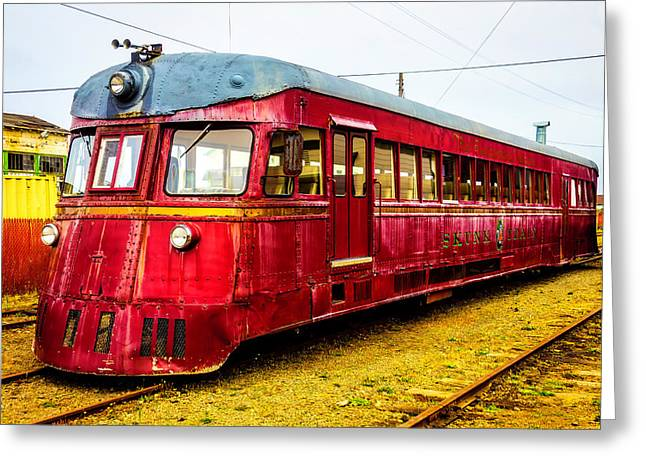 Old Red Skunk Train Greeting Card