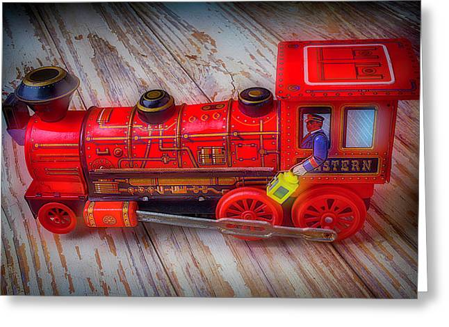 Old Red Toy Train Greeting Card by Garry Gay