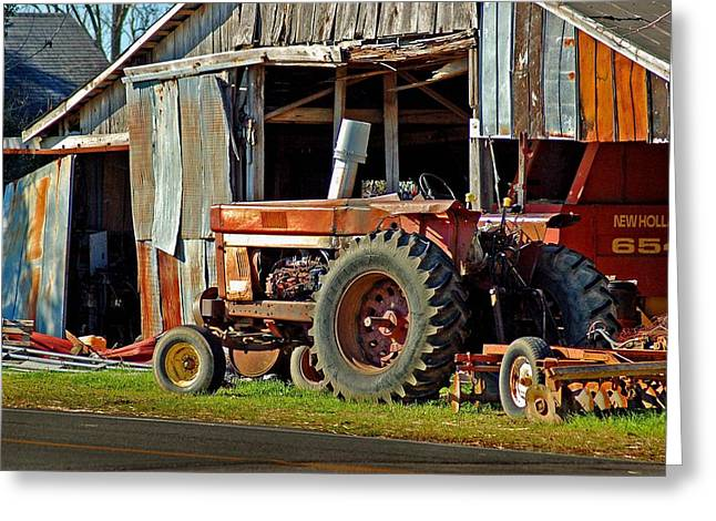 Old Red Tractor And The Barn Greeting Card