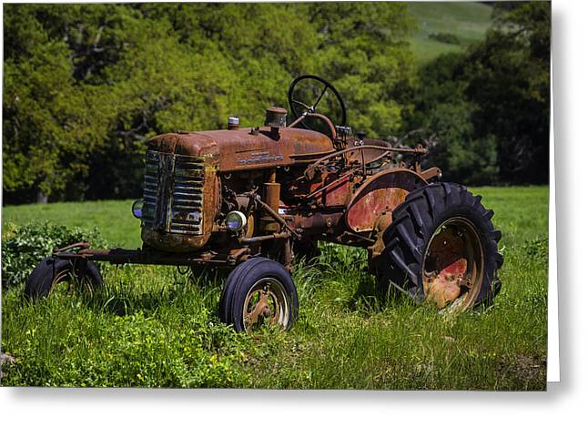 Old Red Tractor Greeting Card by Garry Gay