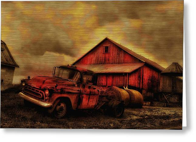 Old Red Truck And Barn Greeting Card