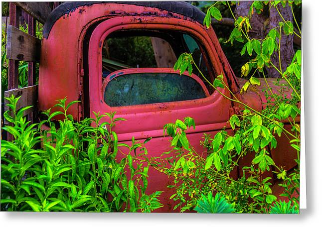 Old Red Truck In The Garden Greeting Card