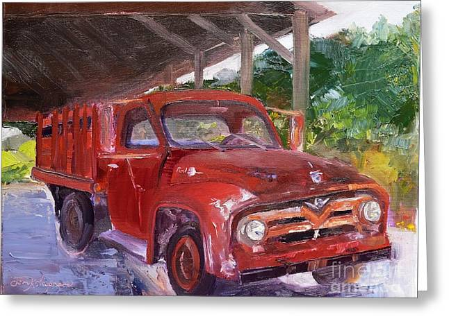 Greeting Card featuring the painting Old Red Truck - Mountain Valley Farms - Ellijay by Jan Dappen
