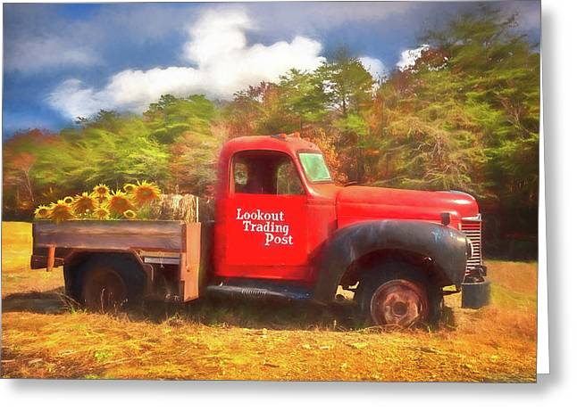 Old Red Truck On The Farm Watercolor Painting Greeting Card