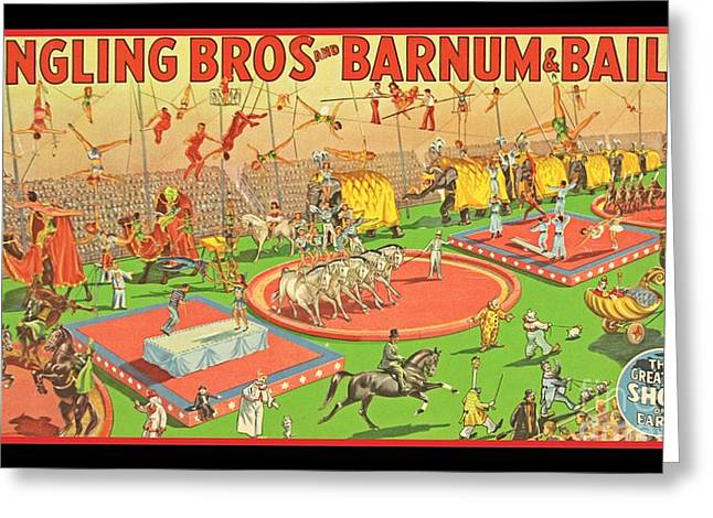 Old Retro Circus Poster Art Greeting Card by Pd