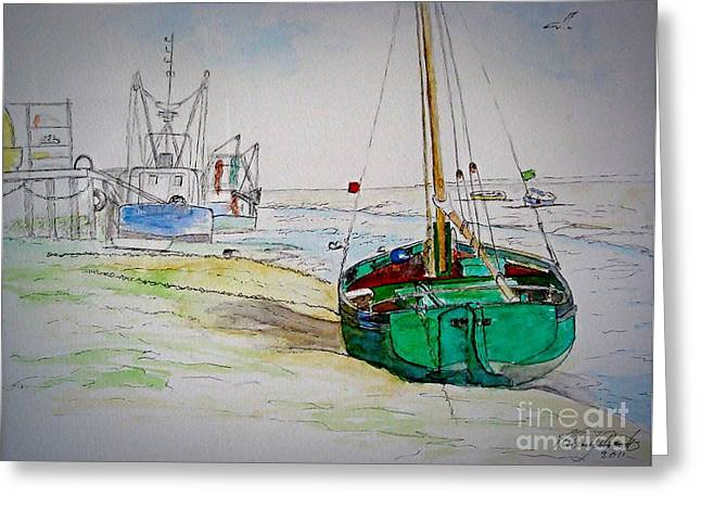 Old River Thames Fishing Boat Greeting Card