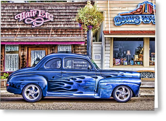 Old Roadster - Blue Greeting Card by Carol Leigh