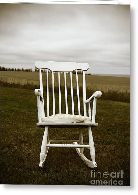 Old Rocking Chair In A Field Pei Greeting Card by Edward Fielding