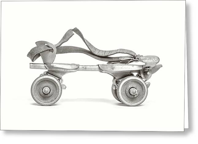 Greeting Card featuring the photograph Old Rollerskate Black And White by Edward Fielding