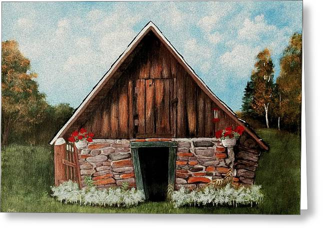Greeting Card featuring the painting Old Root House by Anastasiya Malakhova