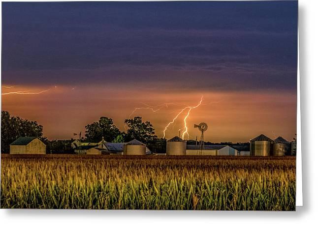 Old Rte 66 Lightning Greeting Card by Joe Kopp