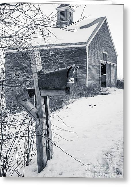 Old Rural Mailbox In Front Of An Old Barn Greeting Card
