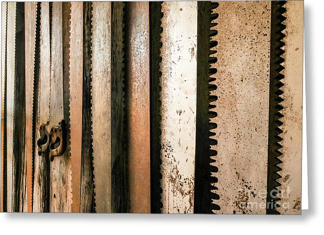 Retired Rusted Saws Greeting Card by Lexa Harpell