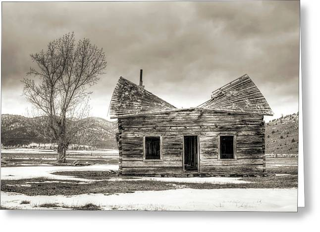Old House Photographs Greeting Cards - Old Rustic Log Cabin in the Snow Greeting Card by Dustin K Ryan
