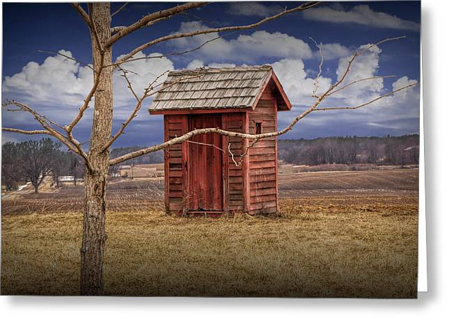 Old Rustic Wooden Outhouse In West Michigan Greeting Card