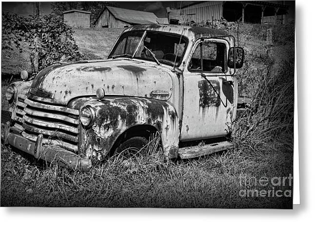 Old Rusty Chevy In Black And White Greeting Card by Paul Ward