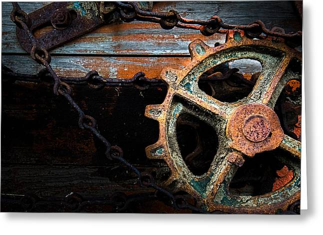 Old Rusty Gear And Chain Greeting Card by Bob Orsillo