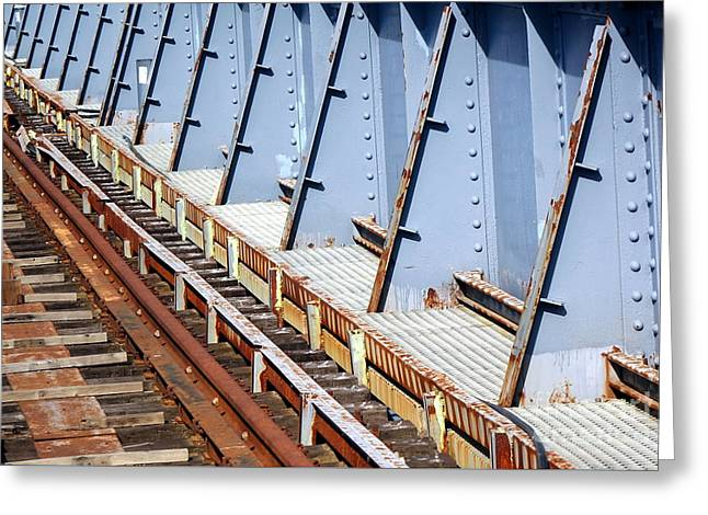 Greeting Card featuring the photograph Old Rusty Railway Bridge by Yali Shi