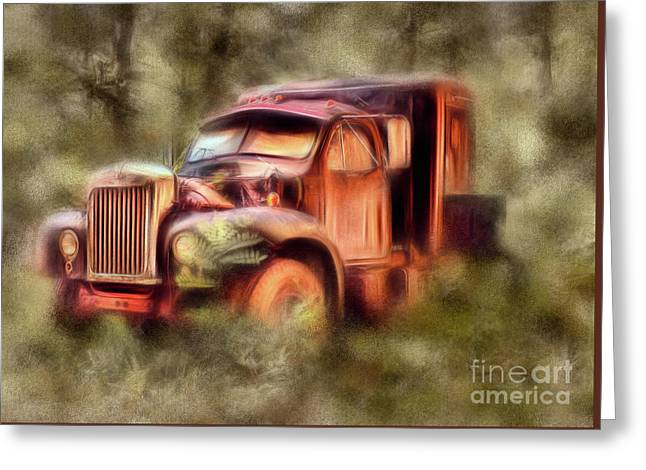 Old Rusty Truck In The Woods - Jocassee Ap Greeting Card by Dan Carmichael