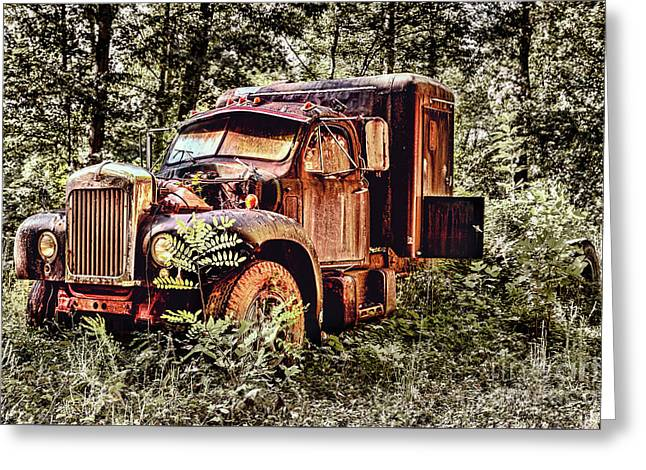 Old Rusty Truck In The Woods - Jocassee Greeting Card by Dan Carmichael