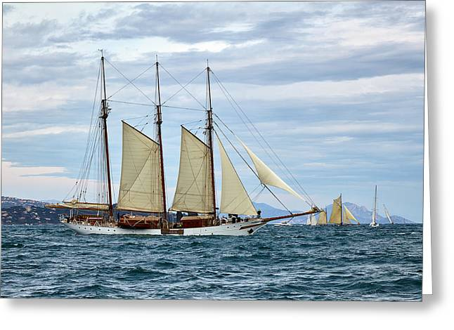 Old Sailing Ship In A Stormy Sea Greeting Card by Sergey Pro