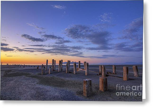 Old Saltair Posts At Sunset Greeting Card