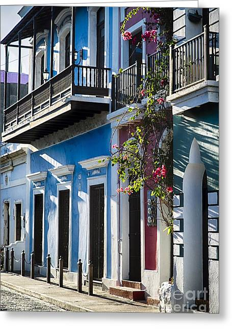 Old San Juan Doors And Balconies Greeting Card by George Oze