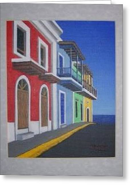 Greeting Card featuring the painting Old San Juan Puerto Rico by Edwin Alverio